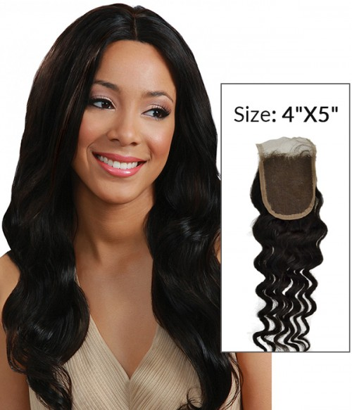 """4""""x5"""" Loose Wave 8-20"""" Free Part/Middle Part/Three Part Remy Human Hair Top Closure"""