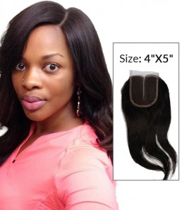 """8-20"""" 4""""x5"""" Natural Straight Free Part/Middle Part/Three Part Brazilian Remy Human Hair Lace  Closure"""