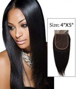 """4""""x5"""" Yaki Straight 8-20"""" Free Part/Middle Part/Three Part Remy Human Hair Top Closure"""
