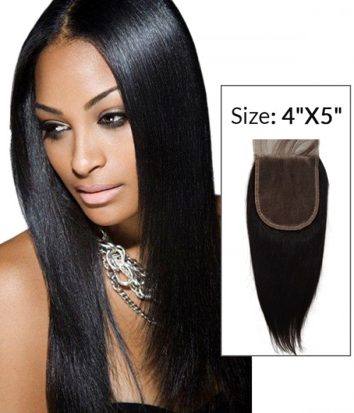 "4""x5"" Yaki Straight 8-20"" Free Part/Middle Part/Three Part Remy Human Hair Top Closure"