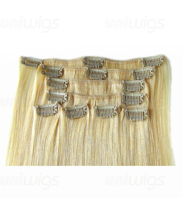 Color Diy White Blonde Virgin Remy Human Hair Clip In Extension