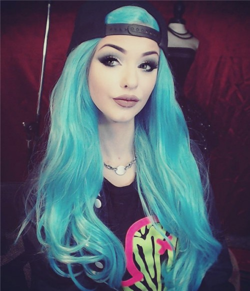 Turquoise Synthetic Lace Front Wig