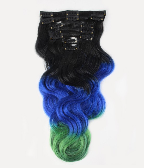 18 7 Pieces Triple Ombre Color Body Wave Clip In Virgin Remy Human