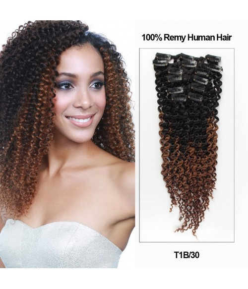 18 ombre color 7 pieces afro curly clip in remy human hair 18 ombre color 7 pieces afro curly clip in remy human hair extension tib30 pmusecretfo Choice Image