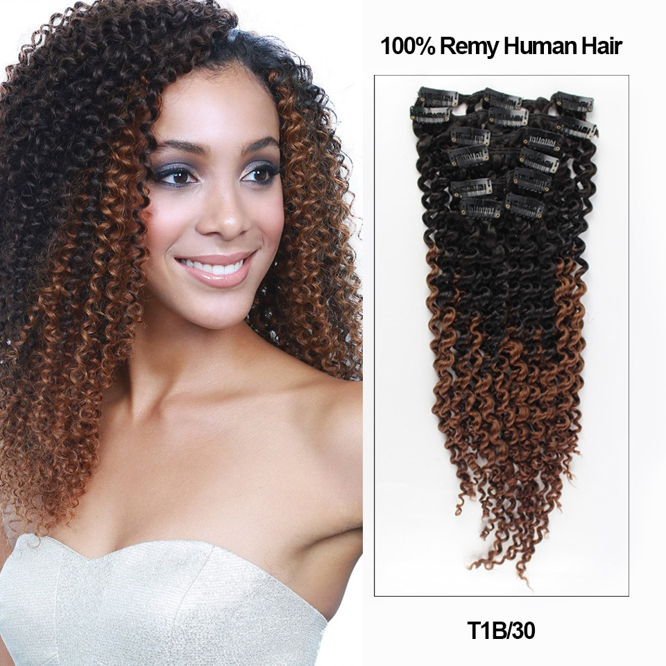 18 Ombre Color 7 Pieces Afro Curly Clip In Remy Human Hair