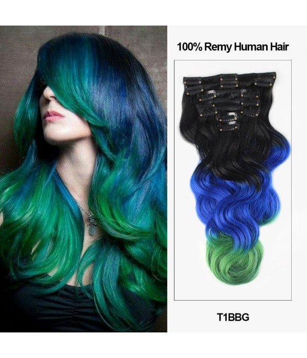 18 7 Pieces Triple Ombre Color Body Wave Clip In Virgin Remy Human