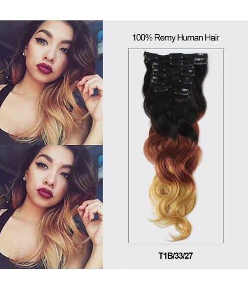 "18"" Triple Ombre Color 7 Pieces Body Wave Clip In Virgin Remy Human Hair Extension T1B3327"