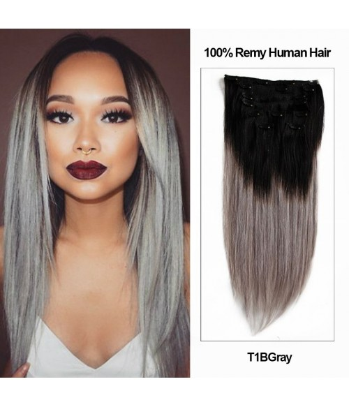 """20"""" Ombre Color 9 Pieces Straight Clip In Remy Human Hair Extension E92001STW-T1BGray"""