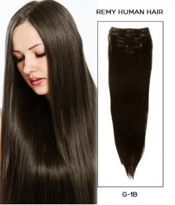 "24"" Off Black 7 Pieces Straight Clip In Indian Remy Human Hair Extension E724001STW-G-1B"
