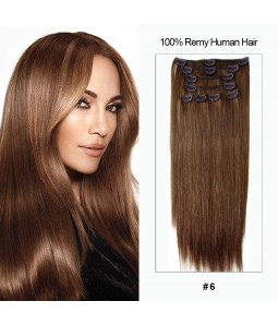"18"" Virgin Remy Human Hair 8 Pieces Set Clip In Extension"
