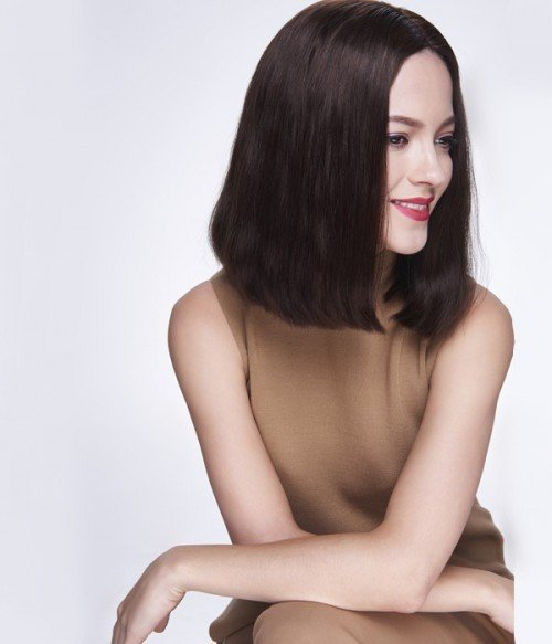 Salma Hayek Medium Straight Black Indian Remy Human Hair Full Lace Wig LCF057