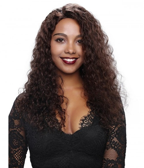 Deep Wave 100% Indian Remy Human Hair Silk Top Glueless Full Lace Wig