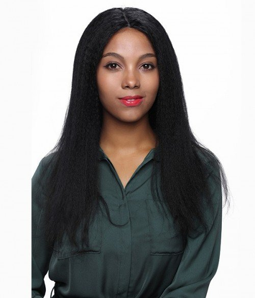 Kinky Straight 100% Indian Remy Human Hair Lace Front Wig