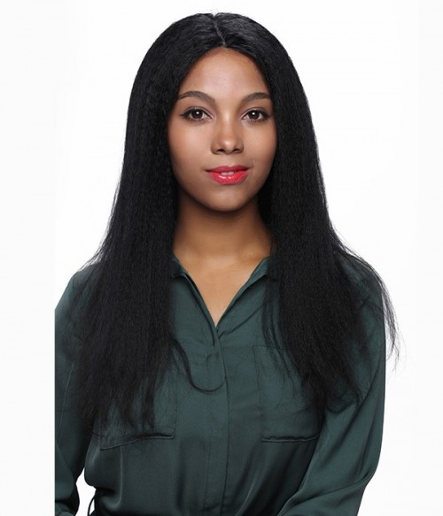 Kinky Straight 100% Indian Remy Human Hair Glueless Full Lace Wig