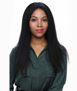 Kinky Straight Remy Human Hair Silk Top Glueless Full Lace Wig