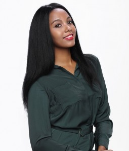 Yaki Straight Remy Human Hair Glueless Full Lace Wig