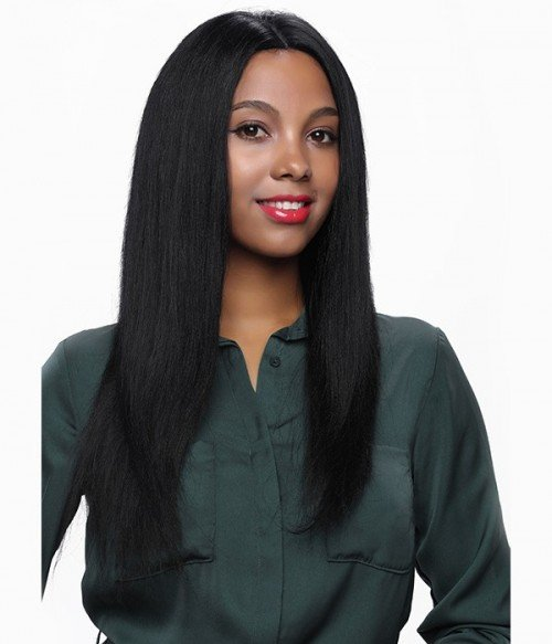 Yaki Straight 100% Indian Remy Human Hair Silk Top Full Lace Wig