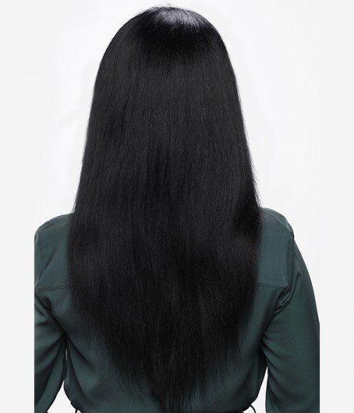 Yaki Straight 100% Indian Remy Human Hair Silk Top Glueless Full Lace Wig