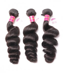 3 Bundles Loose Wave 6A Brazilian Unprocessed Virgin Remy Hair Weave