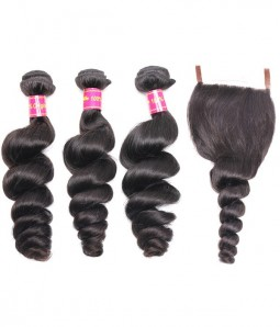 3 Bundles Loose Wave Brazilian Hair Weave With 4*4 Lace Closure