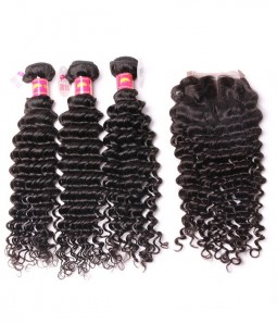 3 Bundles Deep Curly Brazilian Hair Weave With 4*4 Lace Closure