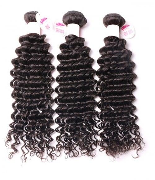 Unprocessed Deep Curly 6A Malaysian Virgin Human Hair Weave