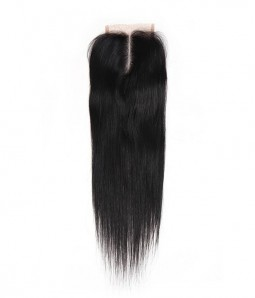 "4""x4"" Natural Straight Brazilian Remy Human Hair Lace Closure"