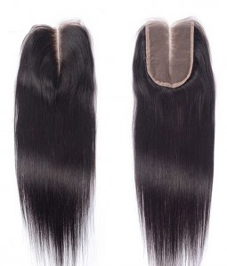 "12"" Natural Straight Brazilian Remy Human Hair Middle Part Lace Top Closure piece (4""x4"")"