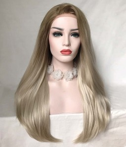 Sweety Futura | Ash Blonde Long Silk Straight Synthetic Lace Front Wig
