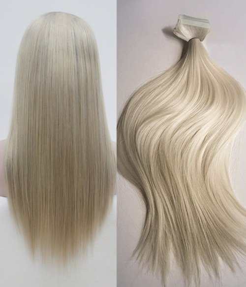 UniWigs SILK STRAIGHT 200G 20'' ASH BLONDE REMY HUMAN HAIR CLIP IN HAIR EXTENSIONS