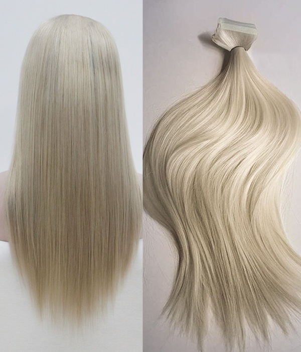 Uniwigs Silk Straight 200g 20 Ash Blonde Remy Human Hair Clip In