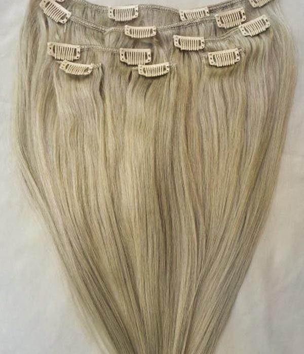 Uniwigs Silk Straight 200g 20 Ash Blonde Remy Human Hair Clip In
