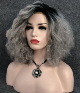 Peach Icicle | Silver with Dark Root Middle Lenght Wavy Synthetic Lace Front Wig