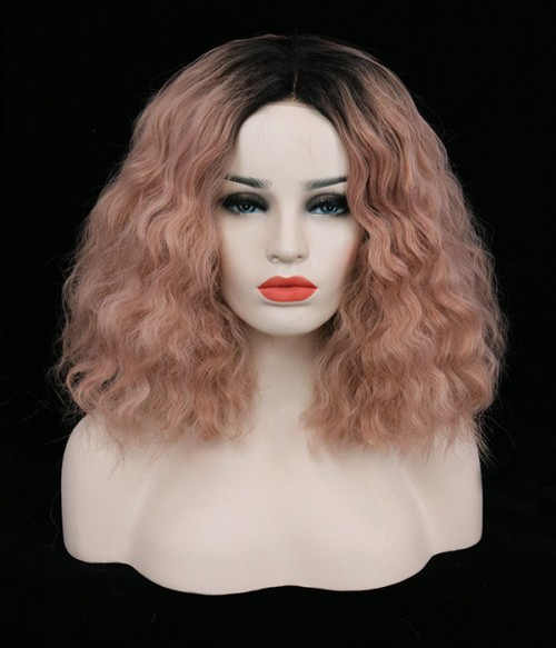 Peach Synthetic Lace Front Wig