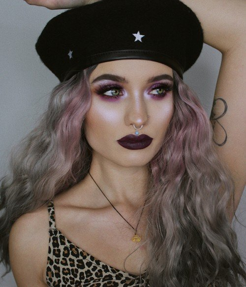 Moon Nymph Ombre Gray Highlight Long Curly Synthetic Lace Front Wig