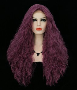 Purple Body Curl Synthetic Lace Front Wig