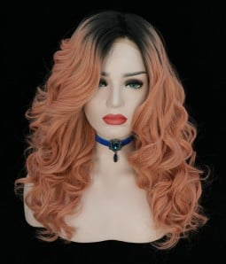 Rooted Peach Synthetic Lace Front Wig