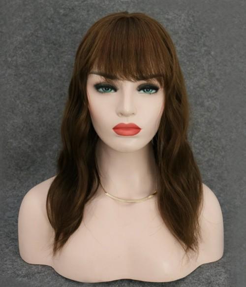 "6""*6"" Amber Silk Top Virgin Human Hair Topper with Bangs"