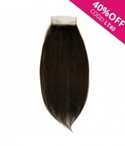 "5""x5"" Natural Straight  Virgin Remy Human Hair Lace Hair Topper-darkest brown"