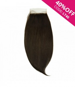 "6""x6"" Charleigh Straight Virgin Remy Human Hair Lace Hair Topper-darkest brown"