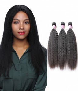 Yaki Kinky Straight  Hair 3 Bundle Of Hair Weave