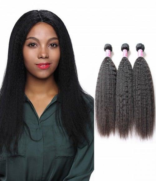 Yaki Kinky Straight Virgin Hair 3 Bundle Of Hair Weave