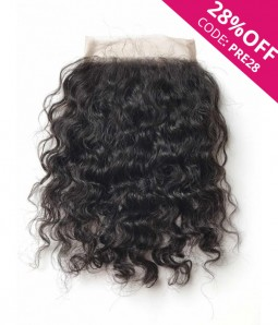 "5""x5"" Curly Brazilian Remy Human Hair Lace Hair Topper"
