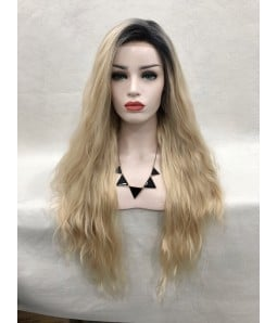 Angelia | Blonde with Dark Roots Long Loose Curl Synthetic Lace Front Wig