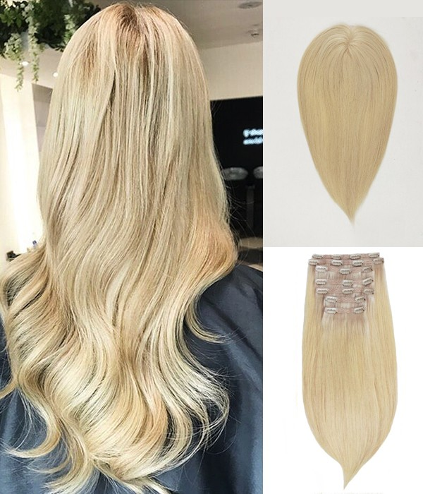 """5.5""""*5.5"""" Claire topper + 16"""" Audrey 7-Piece Clip-in Human Hair Extensions"""