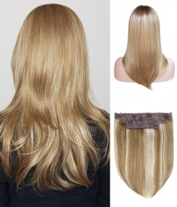 "8.5""*9""Hope Synthetic Mono Topper+ Rachael 2-in-1 Halo Synthetic Hair Extensions"