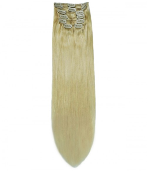 "22"" White Blonde 7 Pieces Straight Clip In Indian Remy Human Hair Extension E722001STW-G-613"