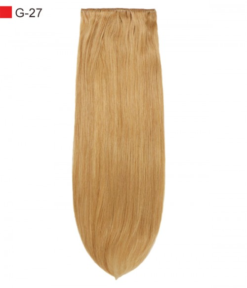 """20"""" Strawberry Blonde 7 Pieces Straight Clip In Indian Remy Human Hair Extension E720001STW-G-27"""