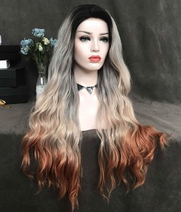 Blorange Sparkle |Grey Ombre Loose Curl Synthetic Lace Front Wig