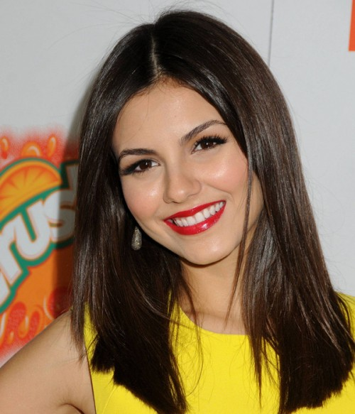 Victoria Justice Long Straight Black Indian Remy Human Hair Full Lace Wig LCF006
